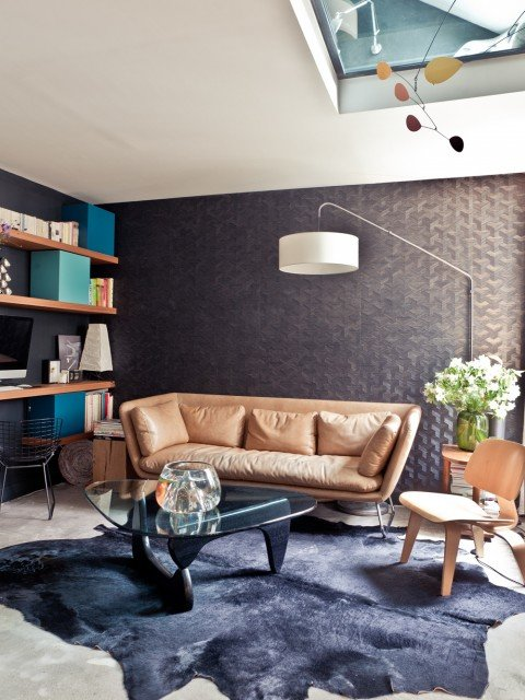 Salon,Bureau Vintage,Scandinave Bleu,Noir,Marron,Camel,Beige Bois,Cuir,Papier peint,Verre