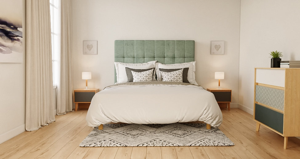 Chambre scandinave beige verte blanche : inspiration style Scandinave