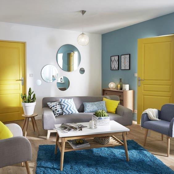 Salon vintage bleu jaune: budget déco style Vintage, Bois Textile ...