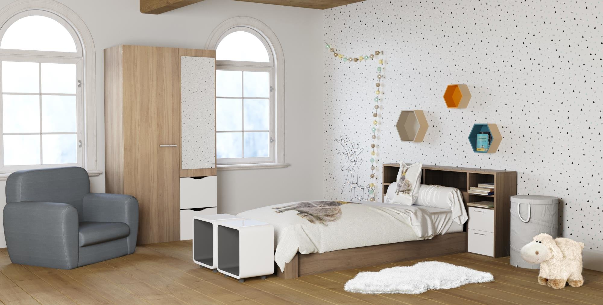 chambre d 39 enfant scandinave blanche beige inspiration style scandinave. Black Bedroom Furniture Sets. Home Design Ideas