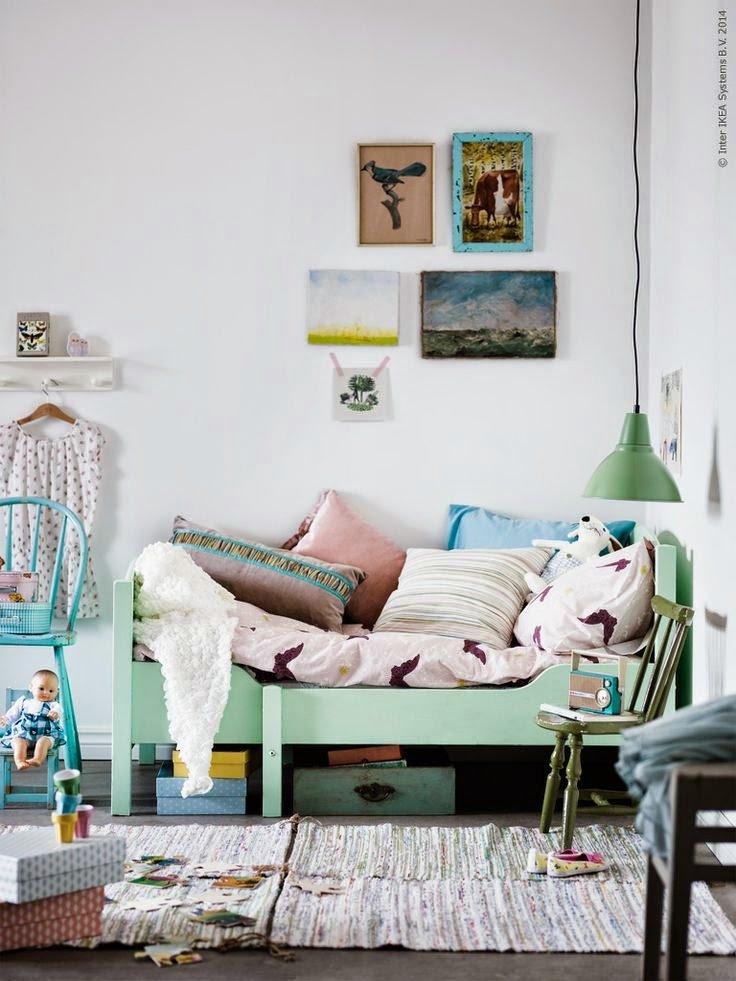 Chambre,Chambre d'enfant Scandinave,Bohème  Vert,Blanc,Gris,Beige,Multicolor Bois,Métal,Textile