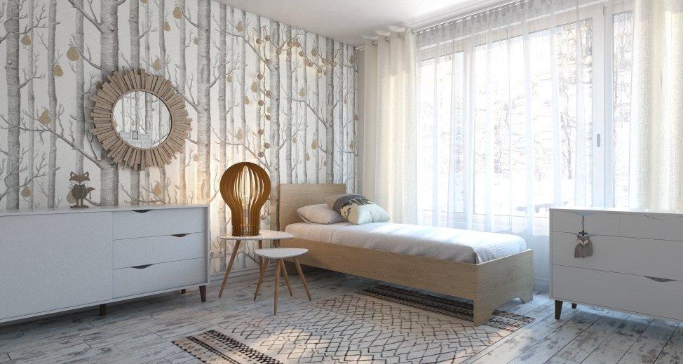 Chambre D Enfant Contemporain Scandinave Gris Beige Bois Textile