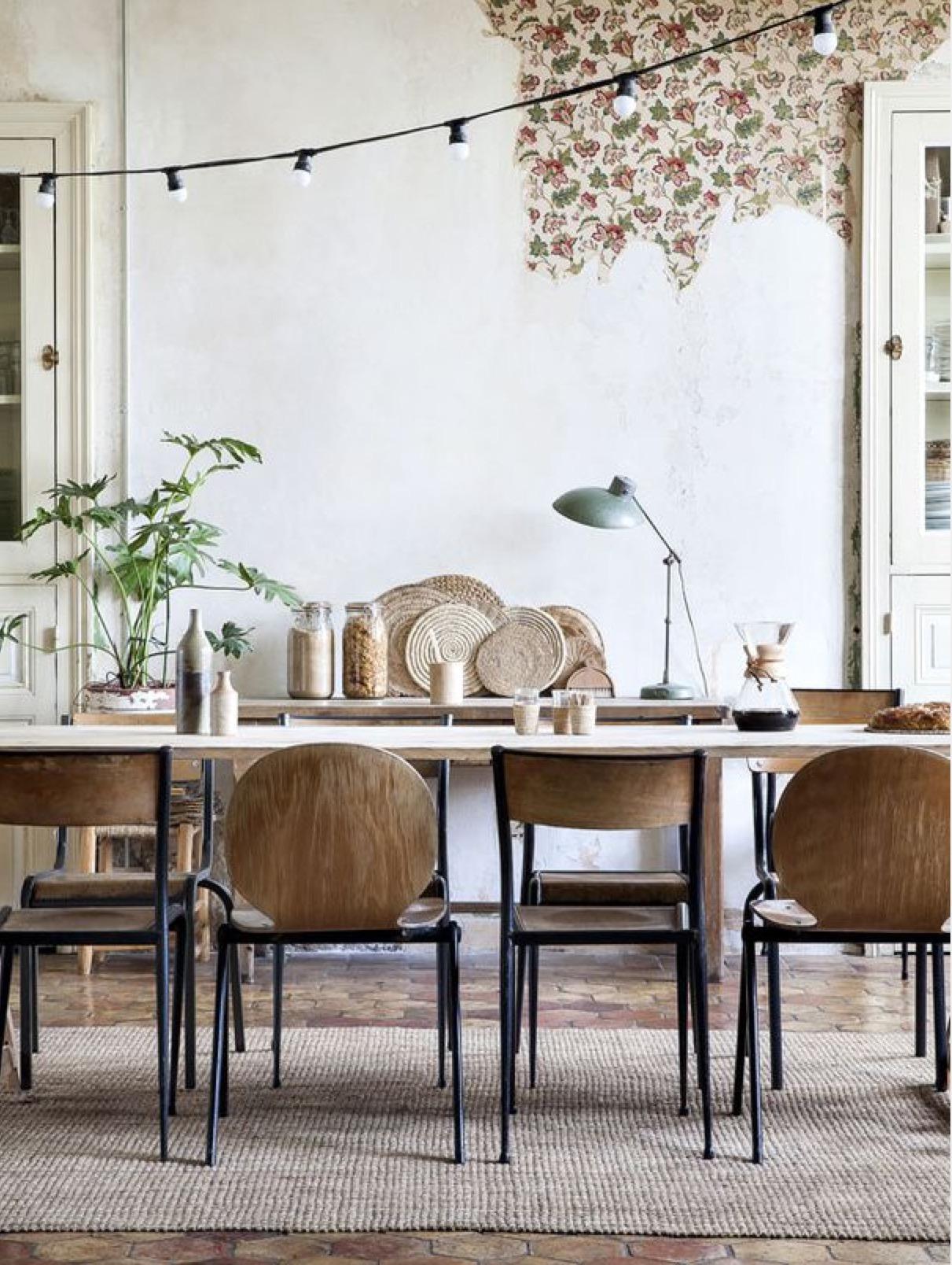 Salle à Manger Bohème Inspiration Style Bohème Bois Métal Textile