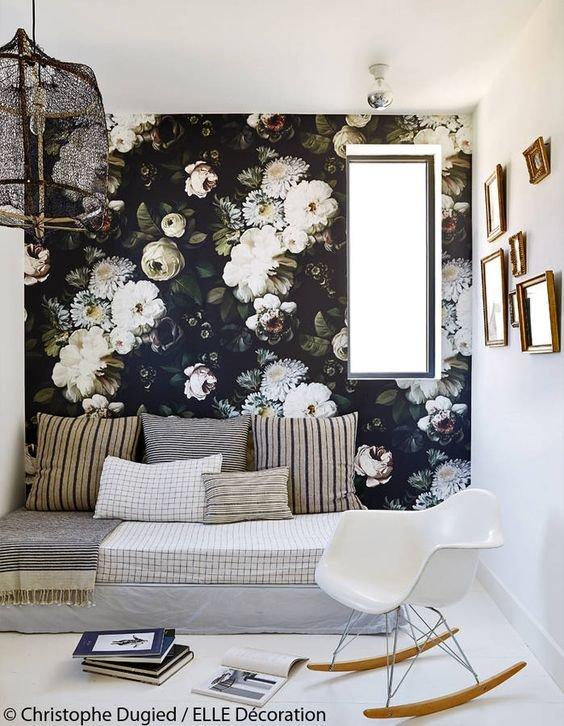 salon papier peint fleuri papier peint inspiration style romantique shabby chic. Black Bedroom Furniture Sets. Home Design Ideas