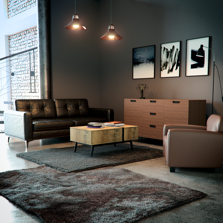 Salon industriel contemporain noir marron gris : inspiration style ...