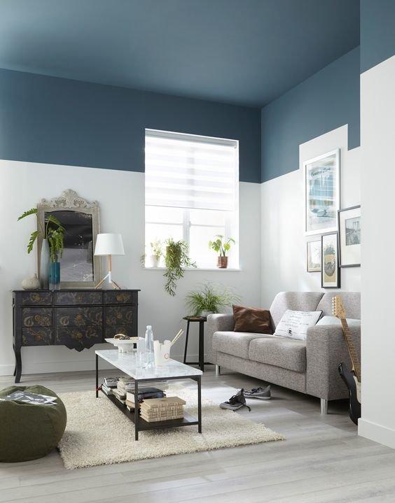 Salon mur bicolore