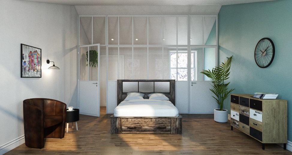 Chambre industrielle scandinave bleu beige marron: inspiration style ...