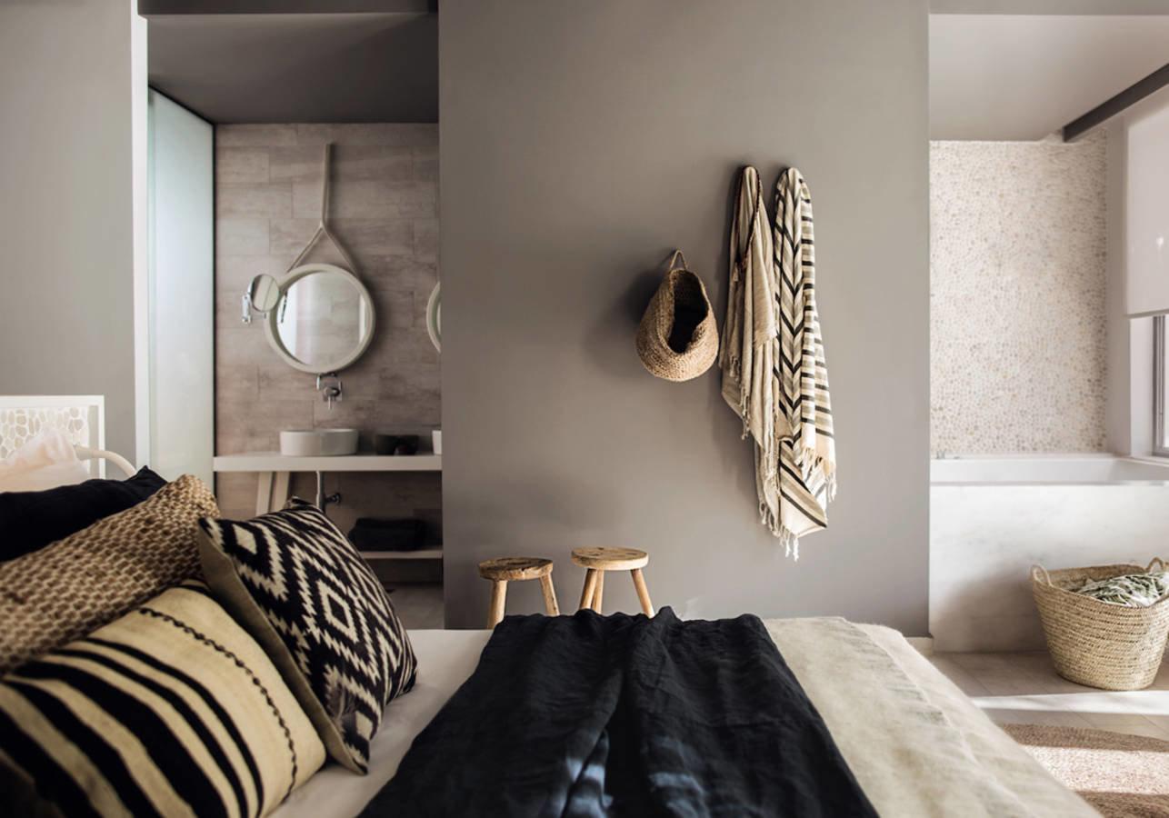 chambre boh me classique ethnique blanc camel gris osier rotin jonc de mer bois budget d co. Black Bedroom Furniture Sets. Home Design Ideas