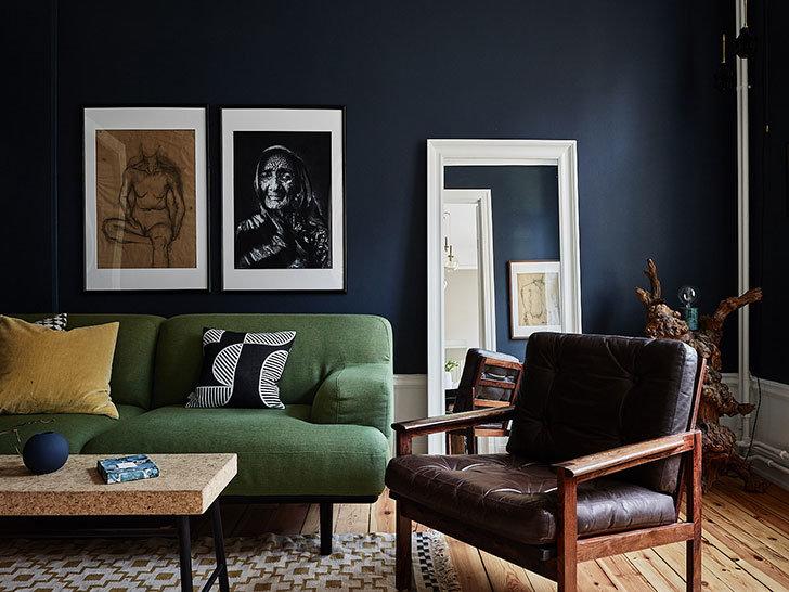 Salon Vintage Marron, Vert,Noir Bois,Cuir,Textile,Peinture