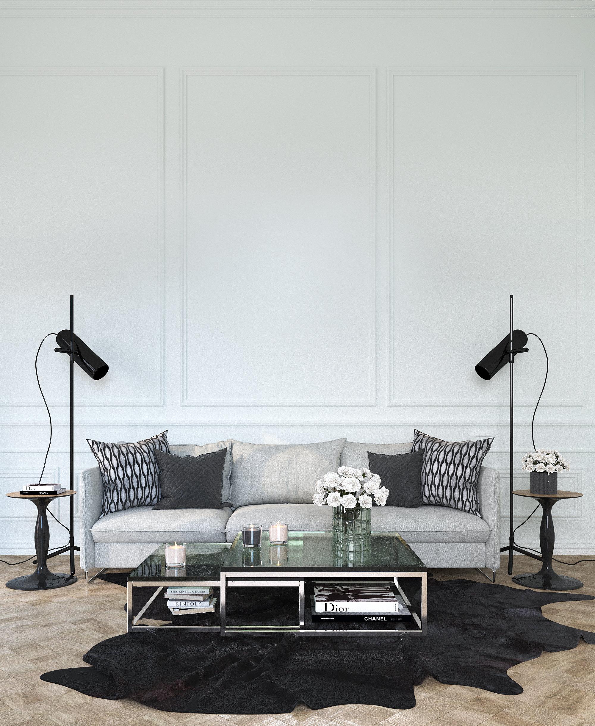 Salon contemporain classique blanc noir