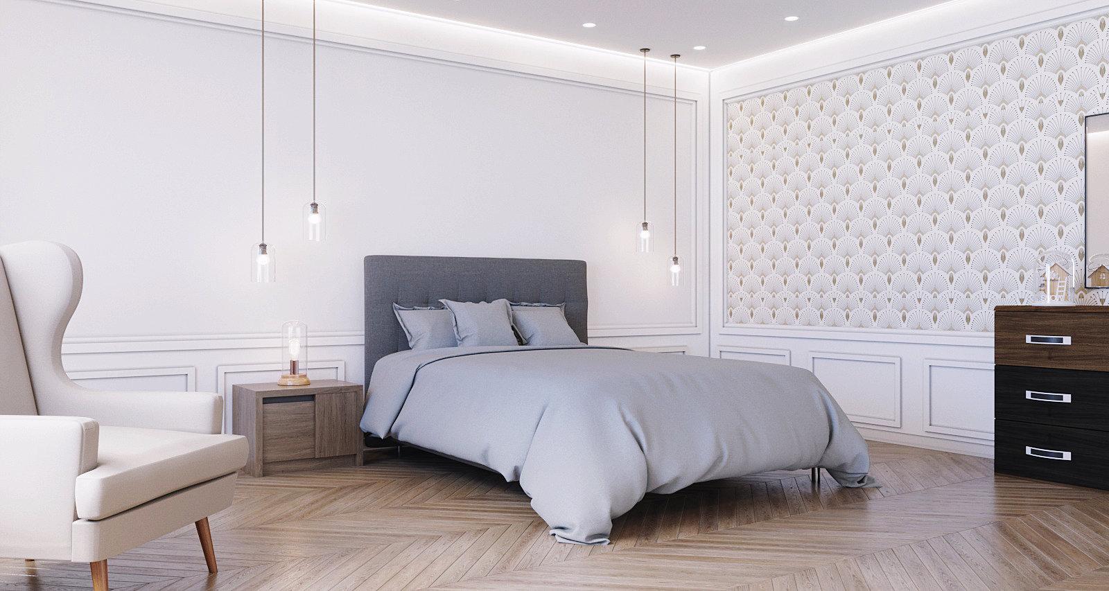 Chambre Classique Blanc Gris Beige Bois Textile Papier Peint Miroir. U203a