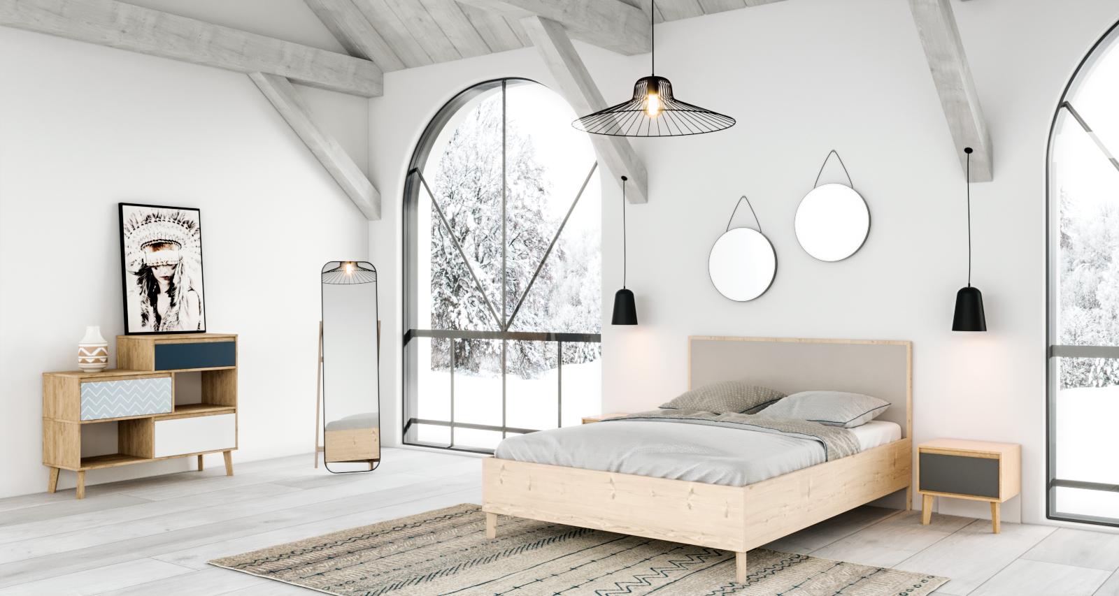 Chambre scandinave industrielle blanche beige noire : inspiration ...