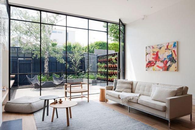 salon baie vitr e inspiration style art d co contemporain m tal bois textile parquet en blanc. Black Bedroom Furniture Sets. Home Design Ideas