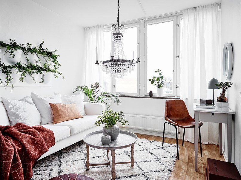 Salon scandinave classique blanc