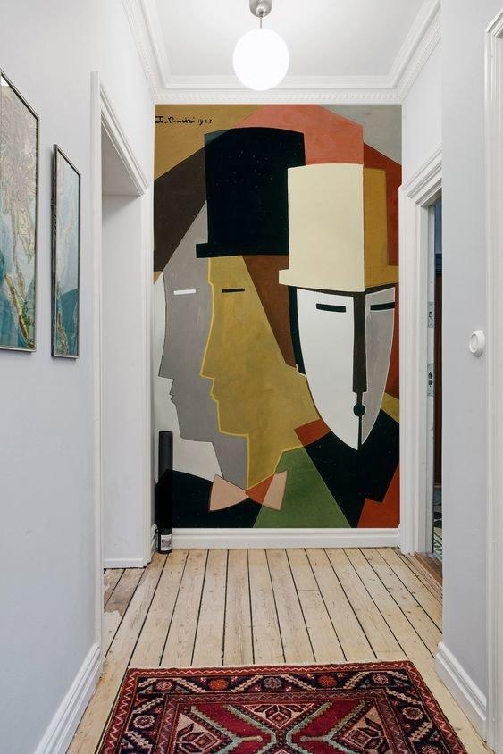 Hall d'entrée graphique multicolor textile bois peinture: inspiration style Graphique