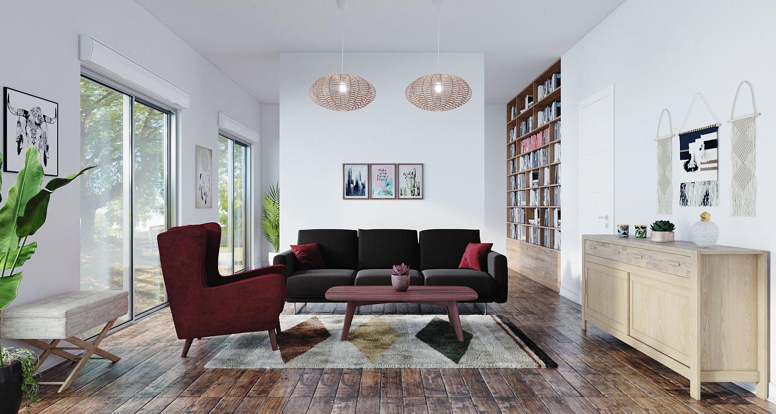 Salon scandinave nature blanc rouge marron: inspiration style Scandinave