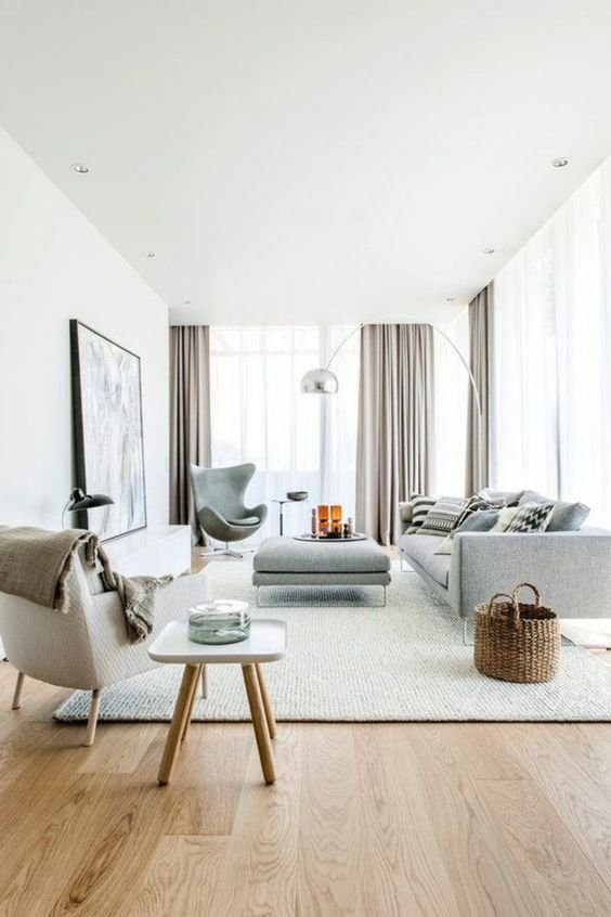 Salon minimaliste gris clair