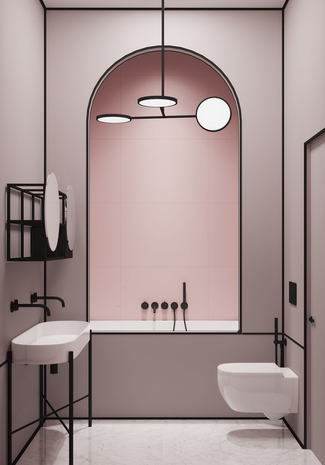 Salle de bain contemporaine rose carrelage marbre peinture ...
