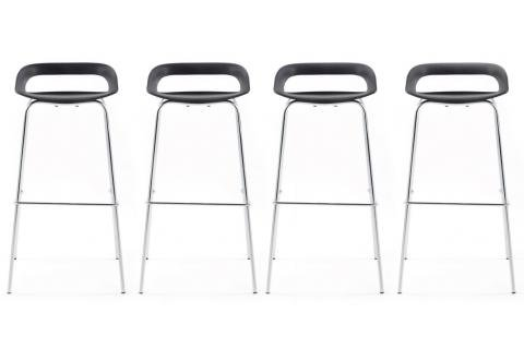 Lot de 4 tabourets de bar FAMOUS Noir